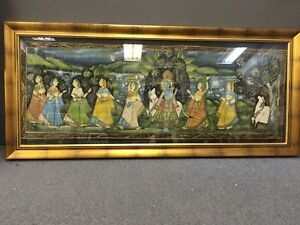 30'x60' Indian picture with wood frame and glasse