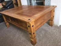 Solid pine oak coffee table