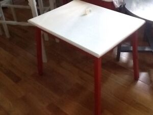 Single red and white side table