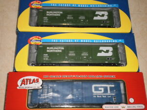 HO scale 50' boxcars  x three  USED