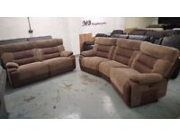 ScS Brown Curve 4 Seater Electric Recliner & 3 Seater Manual Recliner Sofas **CAN DELIVER**