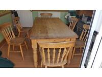 Pine table & 6 Chairs