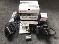 Canon EOS 20D in original box with 50mm lens, memory card, strap, charger and new battery pack