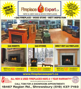 New and used gas and wood fireplaces