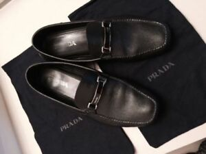 Prada Saffiano Black Leather Loafers/Drivers