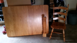 Solid oak 5 piece dining room set in decent shape for the price.