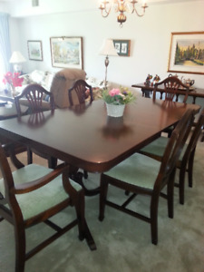 Mahogany Pedestal Dining Table and Chairs