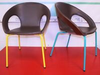 Upmarket Modern Walnut Dining, Occasional, Casual Chair. Stackable. Leather Seat. Delivery Available