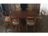 Vintage Retro dinning furniture set. Extending Table and 6 chairs.