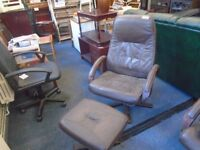brown leather reclining chair and stool. 2 available