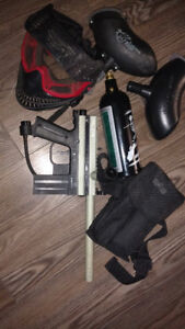 JT paintball gun with accessories
