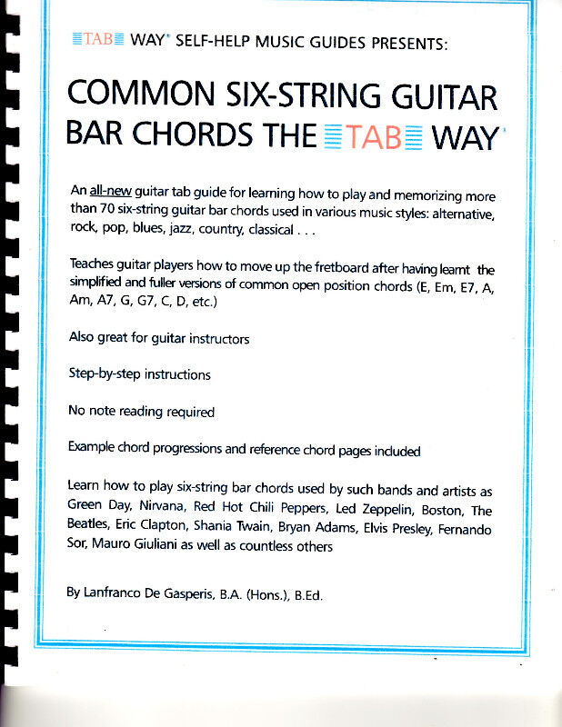 Common Six-String Guitar Bar Chords: the Tab Way for Guitarists ...
