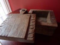 VERY HEAVY & HARD WOODEN QUR'AN OR TREASURE BOX. EARLY 19TH CENTURY & HANDMADE
