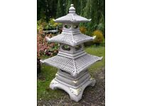 Three 3 tier Pagoda Garden Ornament Japanese Style Reconstituted Stone 95cm x45cm PICK UP ONLY