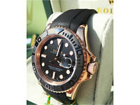 Rolex yacht-master rubber strap rose gold £350 or £400 box and papers