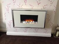 Flame Effect Electric Fire - Cream with silver trim - Flamerill Fires Corelli 800/1000