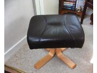 Danish Verikon Brown Leather Footstool