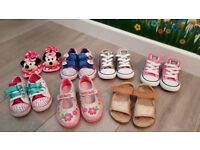 Baby Girls shoe bundle size 7 lelli Kelly,converse, skechers twunkle toes light up and next sandles
