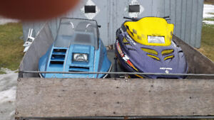 two sleds and trailer for sale