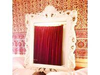 Regal shabby chic white mirror vintage retro