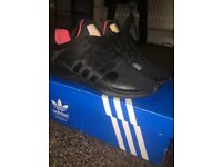 Adidas Eqt size 7 all black and pink