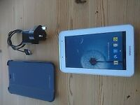 Samsung Galaxy Tab2 7 in white with charger and case.