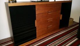 Large Walnut and Black Glass Sideboard