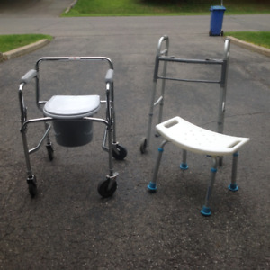 Commode, bath stool and walker