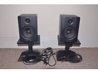 M-AUDIO BX5 D2 PAIR WITH STANDS AND CABLES.