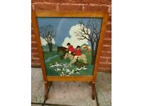 Vintage Fire Screen with Hunting scene