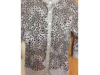 Grey leopard print jumper cardigan size 8