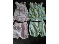 2 baby girl 3-6 summer vest & shorts sets