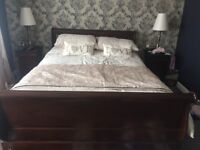 Barker and stonehouse kingsize Sleigh Bed frame Solid Mahogany
