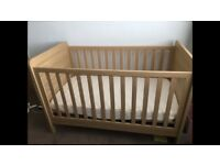 Cot Bed + Mattress - Oak Rialto Mamas and Papas