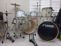 Rare Sonor SSE Special Edition Drum kit, Beech/W Pearl White Finish +cymbals