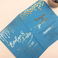 Wedding Invitation Design and Printed - Gold Metallic Ink