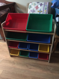 Toy organizer with coloured bins