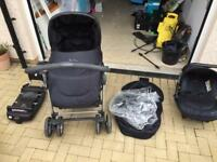 Silver Cross Black Pram/Buggy,Car Seat and Isofix
