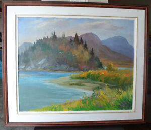 LARGE CHRISTIAN BERGERON OIL ON CANVAS PAINTING MINT