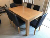6 Seater Oak Dining Table with Faux Leather Chairs Good Condition