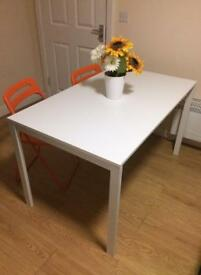 Table and 4 folding chairs - Ikea Melltorp and Ikea Nisse
