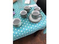 Denby tea cups, saucers and sugar bowl