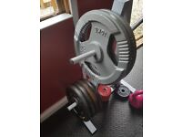 Weight bench and various weights