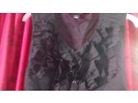 H&M black ruffle blouse (size 10/38)