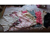 Girls clothes bundle 9 items age 6-7. Cardigan/2 leggings/playsuit/3 dresses/2 t shirts