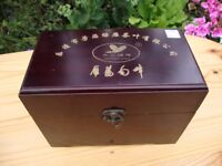 Oriental Wood Tea Caddy,With Two Detailed Metal Tea Cannisters.