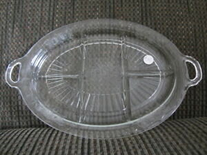 "Clear ""Mayfair"" Depression Glass Divided Platter with Handles"