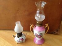 Two old oil lamps, complete.
