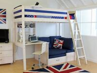 Thuka Highsleeper bed, with sofa area/pull out futon bed, desk and shelving