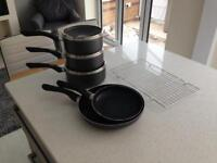JOHN LEWIS 3x SAUCEPANS, 2x FRYING PANS AND RACK